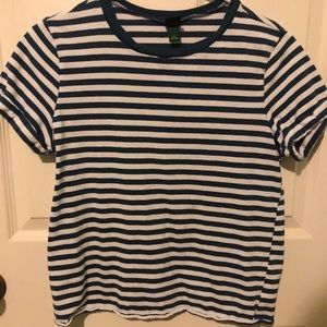 Navy Blue and White Striped T-Shirt